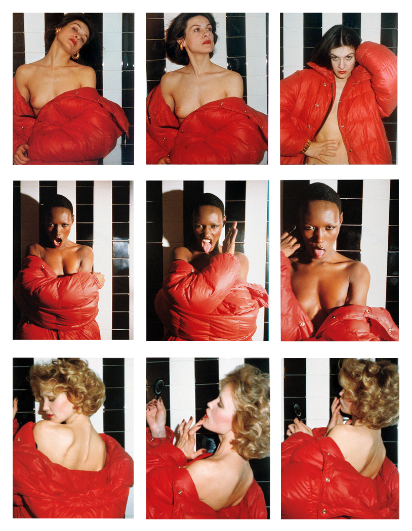 Tina Chow, Grace Jones, Jessica Lange Red Coat series, 1975